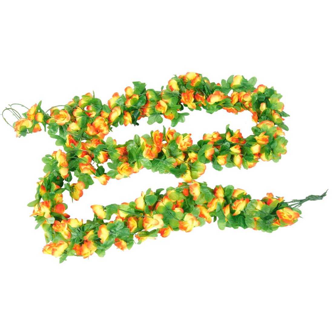 2.2M Length Simulation Ornament Fabric Flower Ivy Yellow Orange 5 Pcs