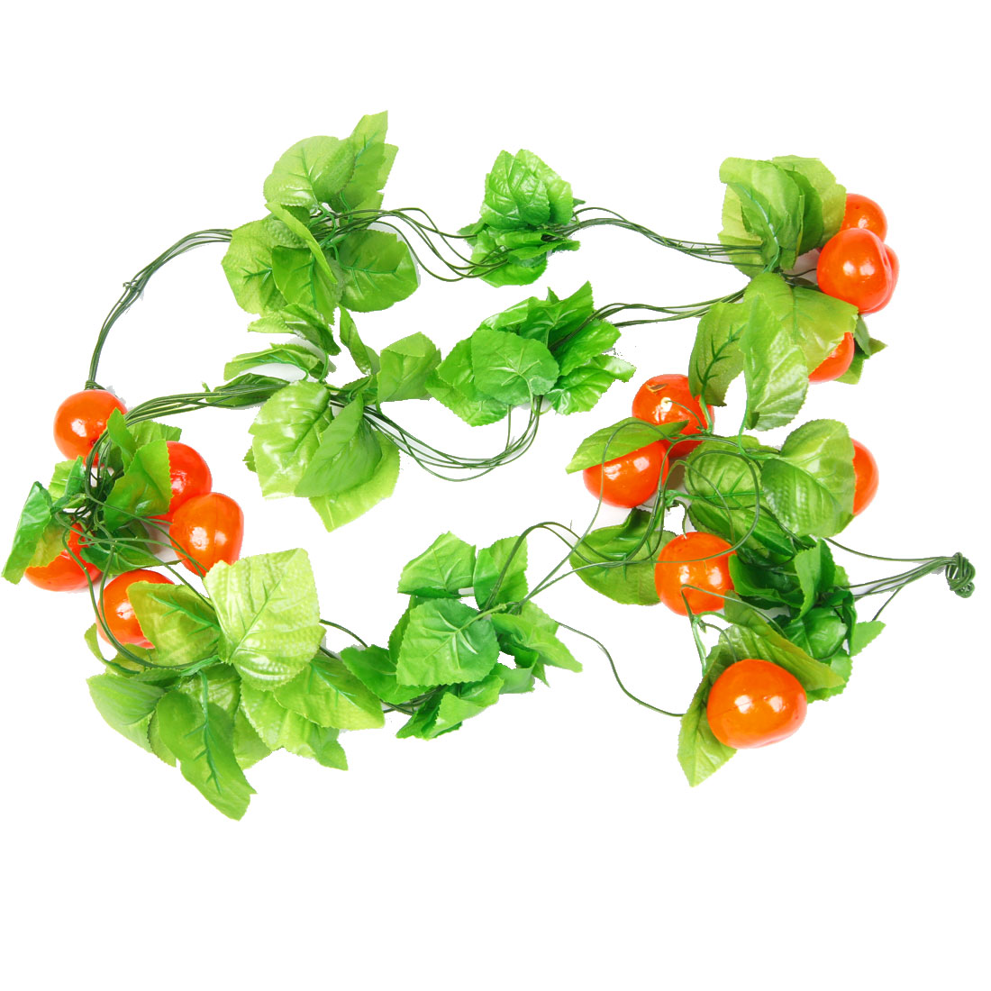 5 Pcs Orange Red Foam Tomato Fruit Green Leaf Wall Adorn Hanging Vine 2.4M