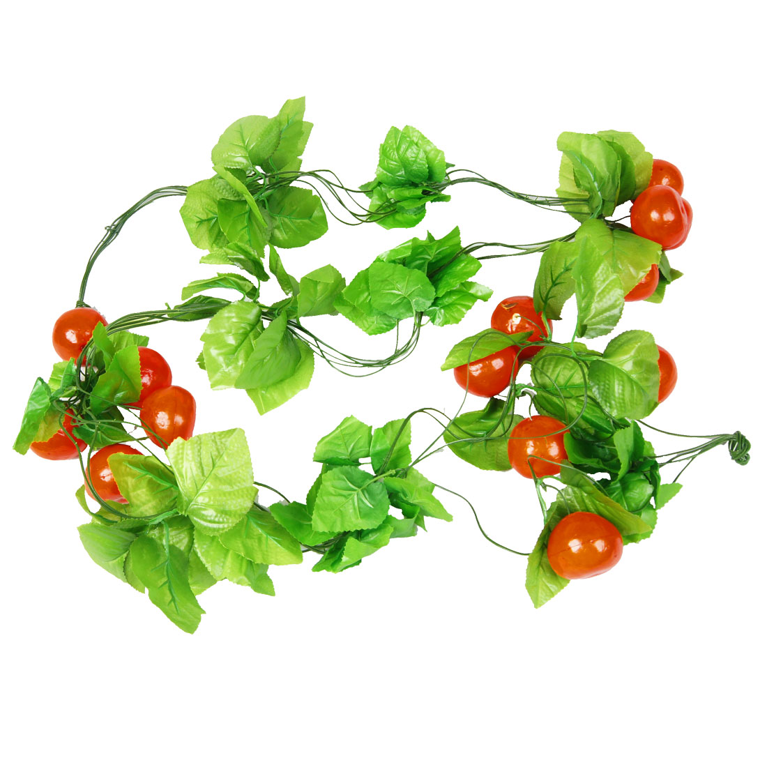 5 Pcs Orange Red Persimmon Green Leaf Wall Decorative Hanging Vine 2.4M