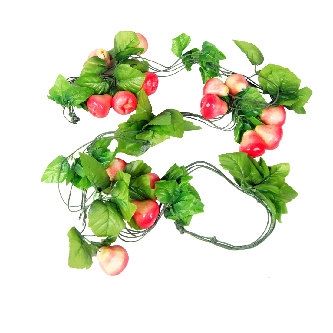 5 Pcs Megenta Wax Apple Green Leaf Wall Decorative Hanging Vine 2.4M