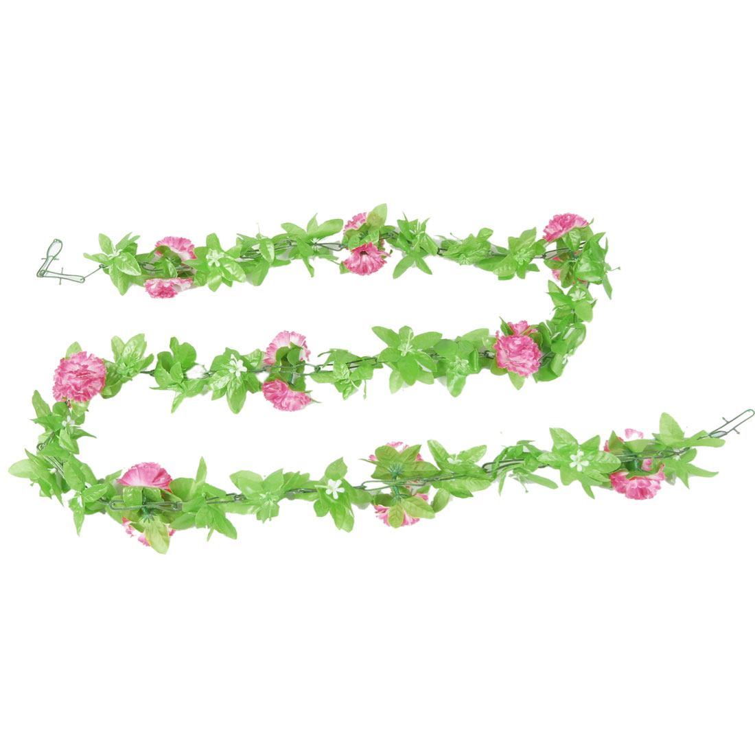 Festivals Wedding Green Leaves Fabric White Pink Carnation Hanging Bouquet 2M