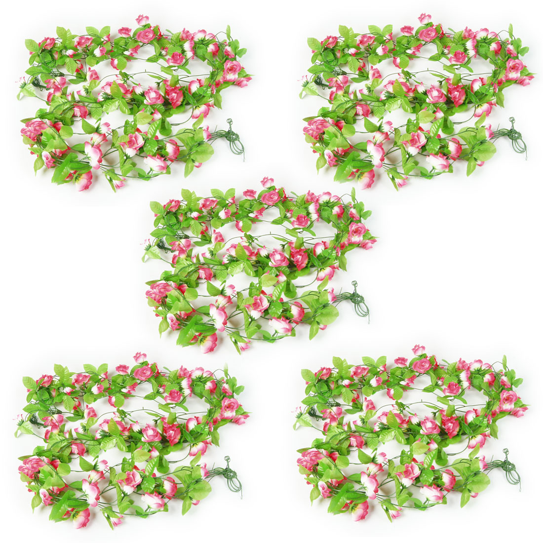 5 Pcs Green Leaf Magenta White Artificial 2.2M 7.2 Ft Fabric Roses Ivy Ornament