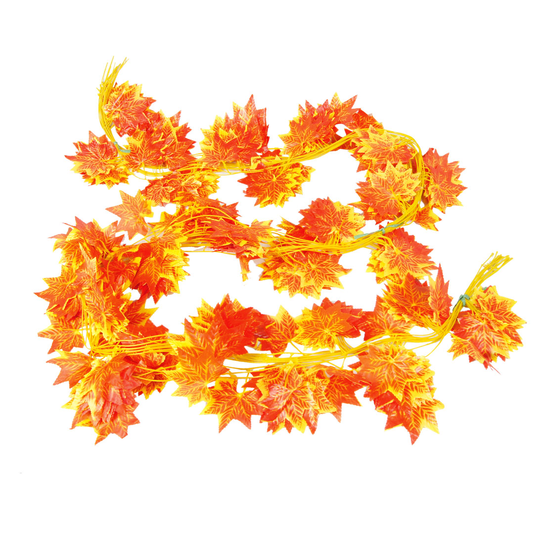 12 Pcs Home Room Detail Red Orange Artificial Maple Leaf Ivy 2.2M