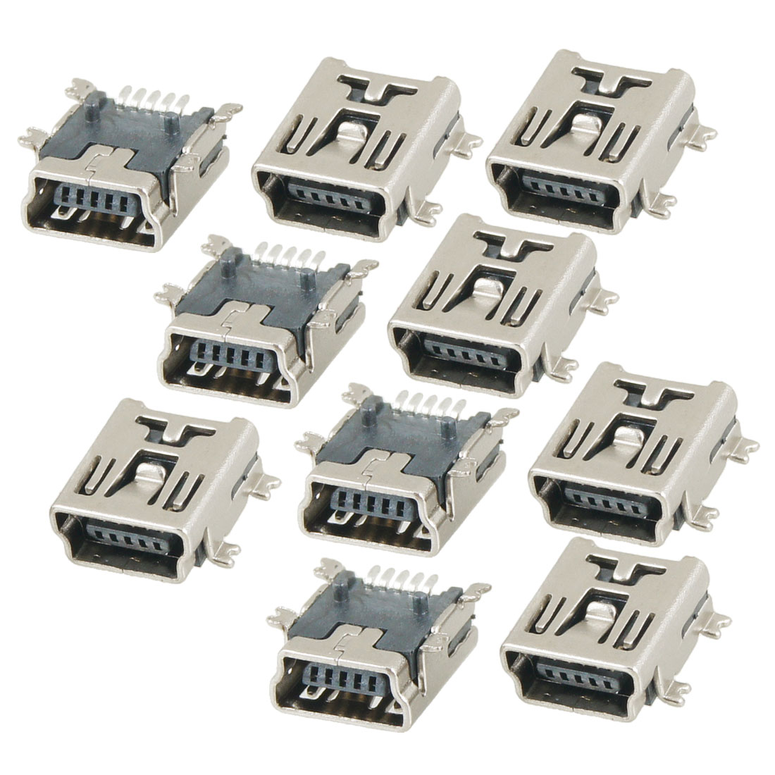 10 Pcs DIY Mini USB 5-Pin Female SMT Socket Connector Silver Tone