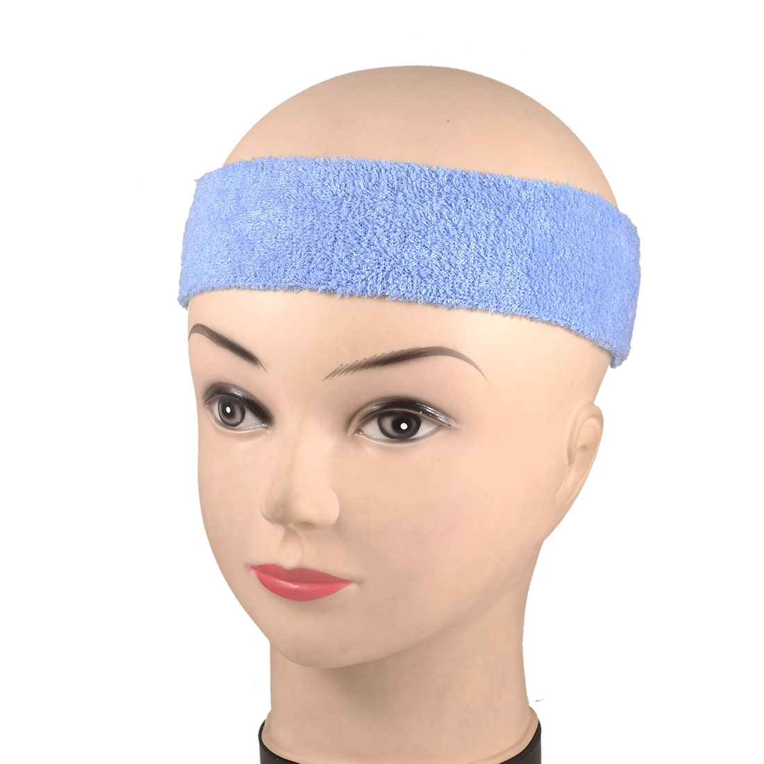2 Pcs Outdoor Sporting Protective Stretch Sweat Absorb Head Band Light Blue
