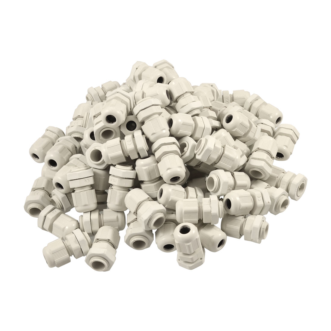 3mm-5mm Plastic Waterproof PG7 Cables Glands Connector White 100 Pcs