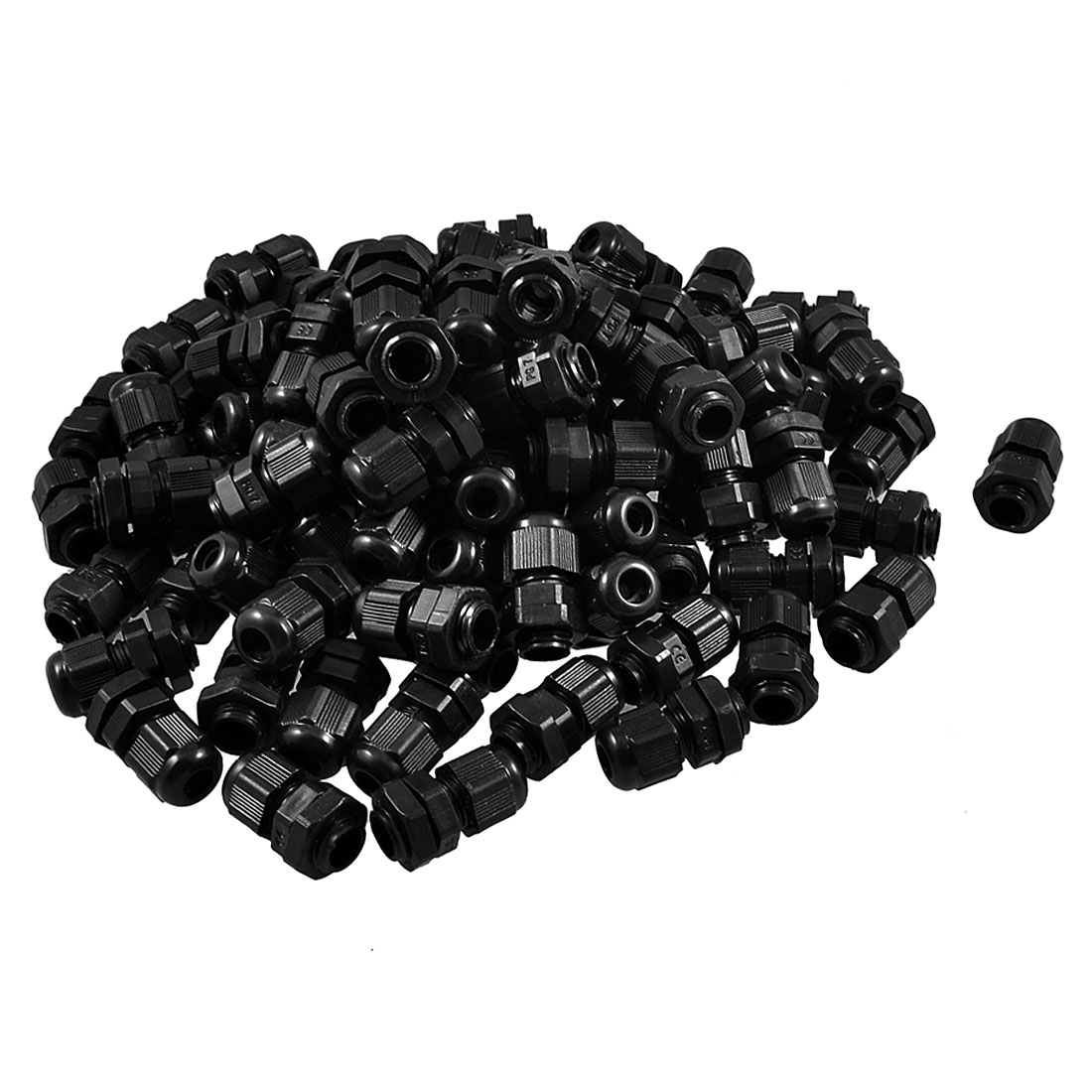 100 Pieces PG7 Black Plastic Waterproof Connector Gland 3-6.5mm Dia Cable