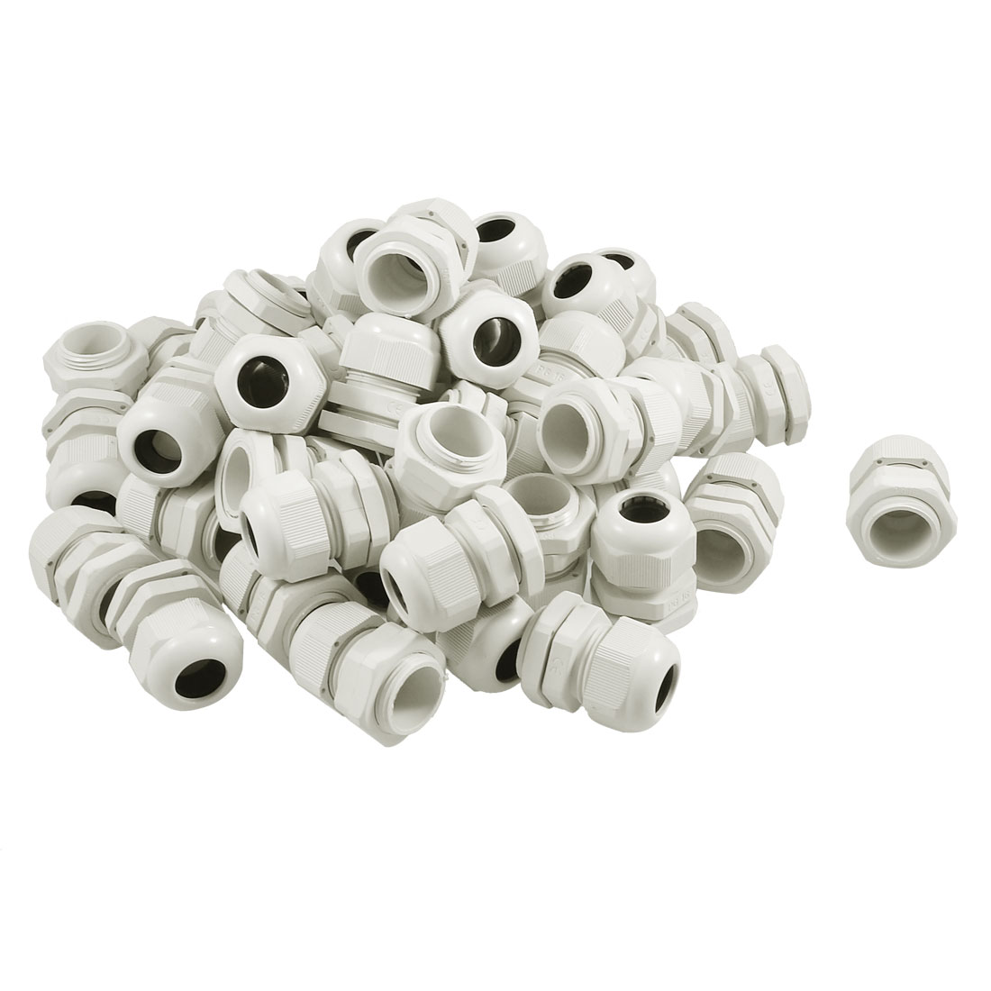 White Plastic P16 IP67 Waterproof Cables Glands Connector 50 Pcs
