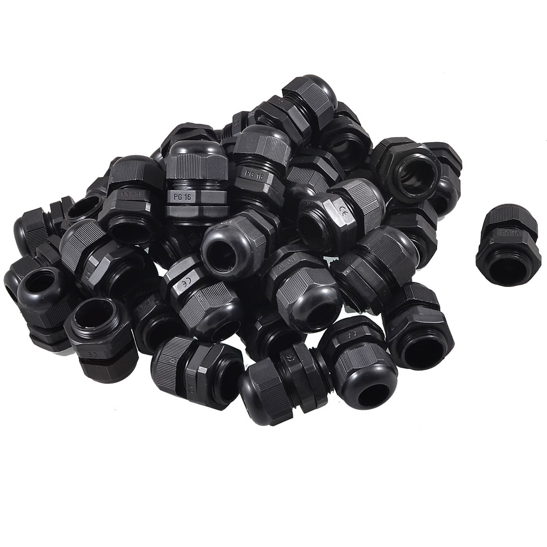 50 Pcs 10mm-14mm Electric Cable Waterproof PG16 Plastic Glands Black
