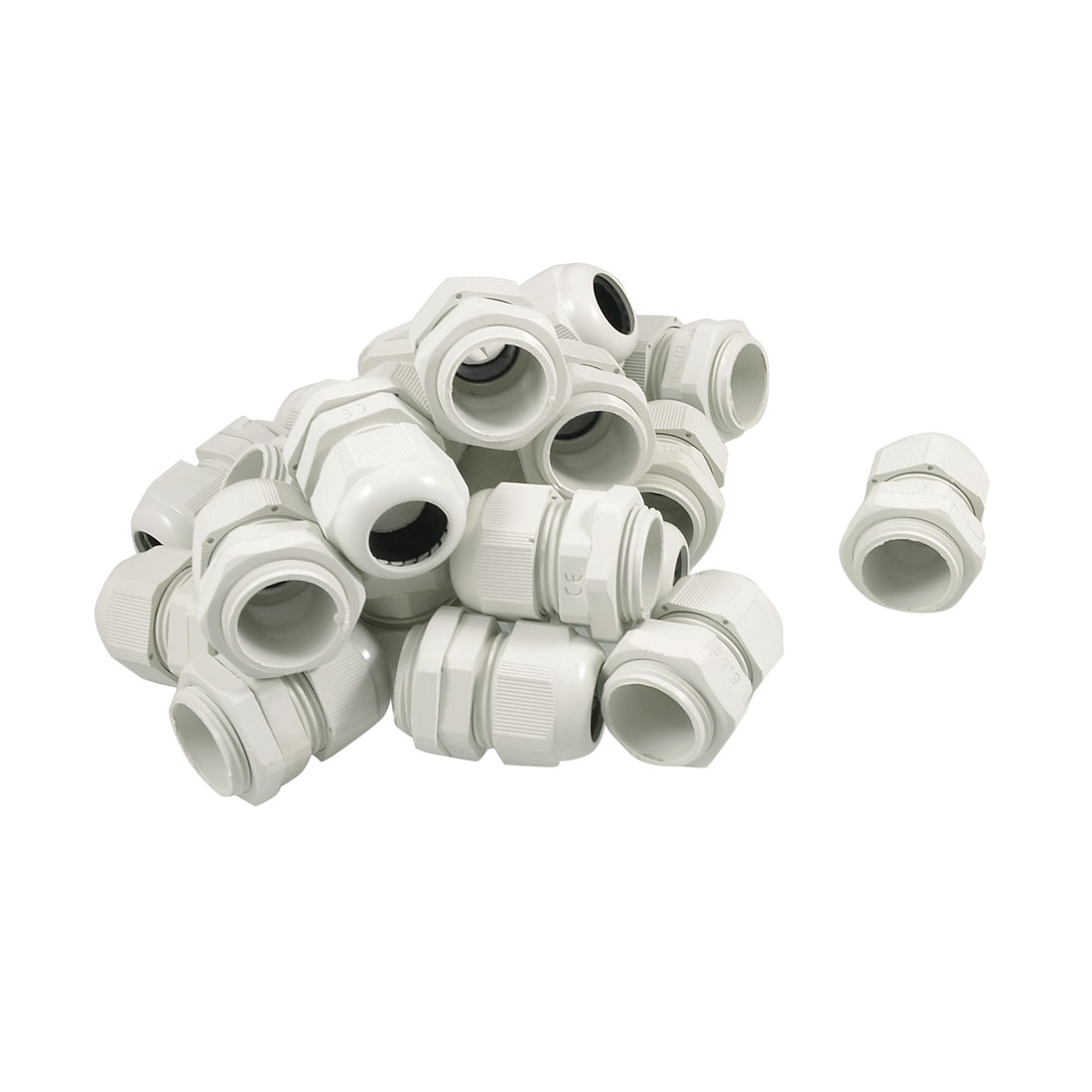 20 Pcs PG19 IP67 24mm Thread Diameter Waterproof White Plastic Cable Gland Fastener