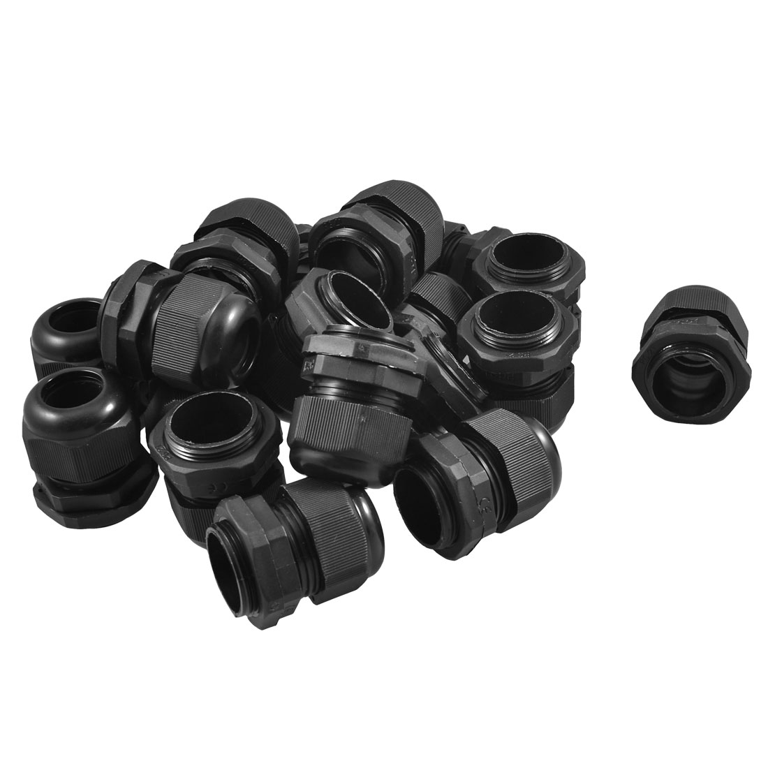 Black Plastic Waterproof Connector PG21 13-18mm Diameter Cable Gland 20PCS