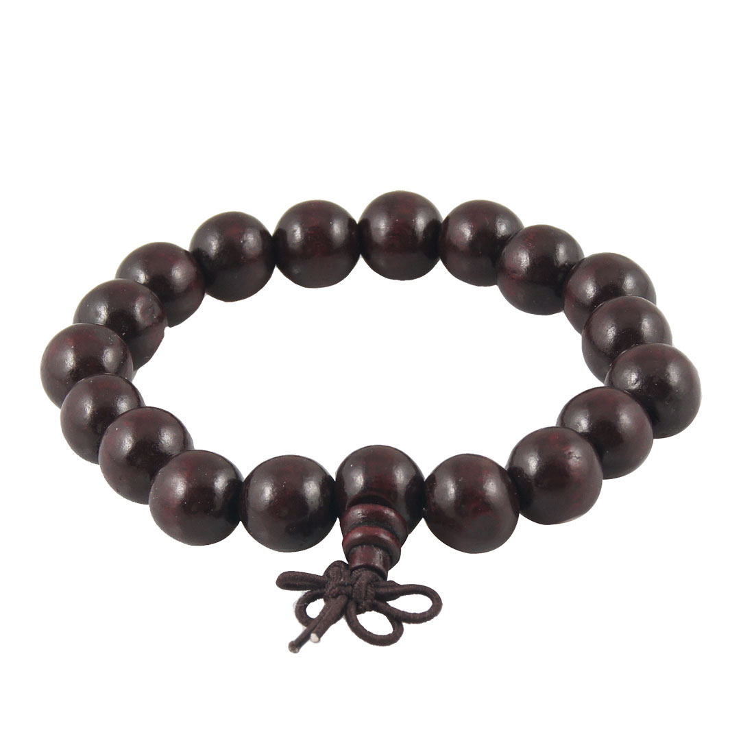 Dark Brown 19 Plastic Round Beads Knot Decor Elastic Buddha Bead Bracelet