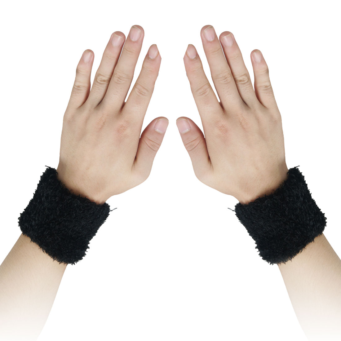 2 Pcs Sports Fitness Terry Spandex Wrist Support Sweatband Straps Black