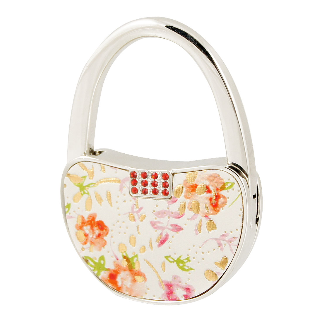 Rhinestone Floral Magnetic Closure White Padlock Shaped Foldable Handbag Hook