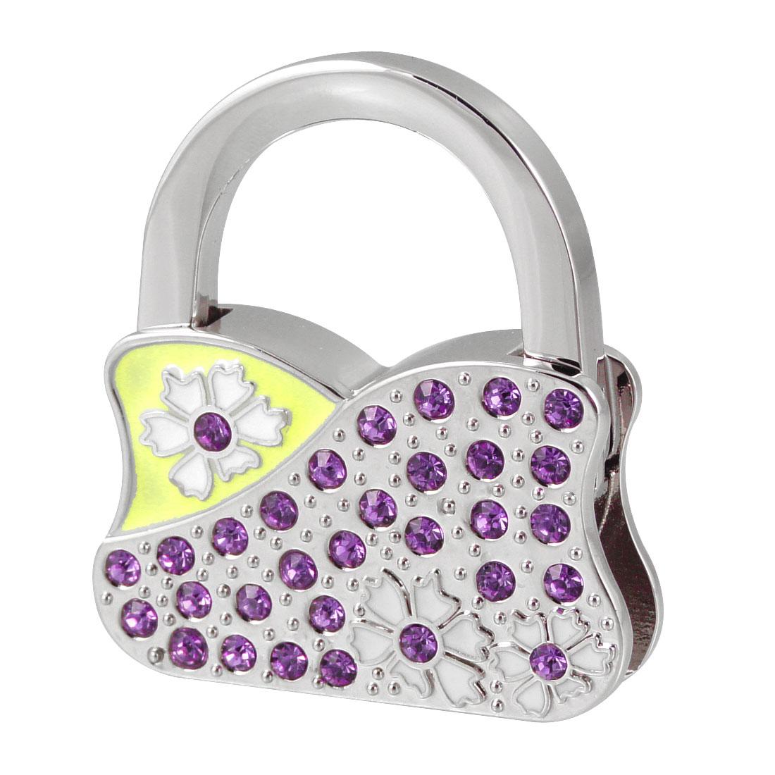 White Flowers Purple Rhinestones Decor Handbag Shaped Metal Foldable Hanger Hook