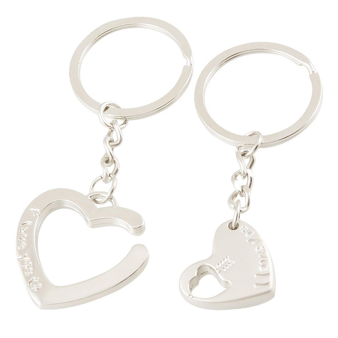 "Metal 1.1"" Dia Ring Silver Tone Love Hearts Pendant Lovers Keyrings Keychains 2 Pcs"