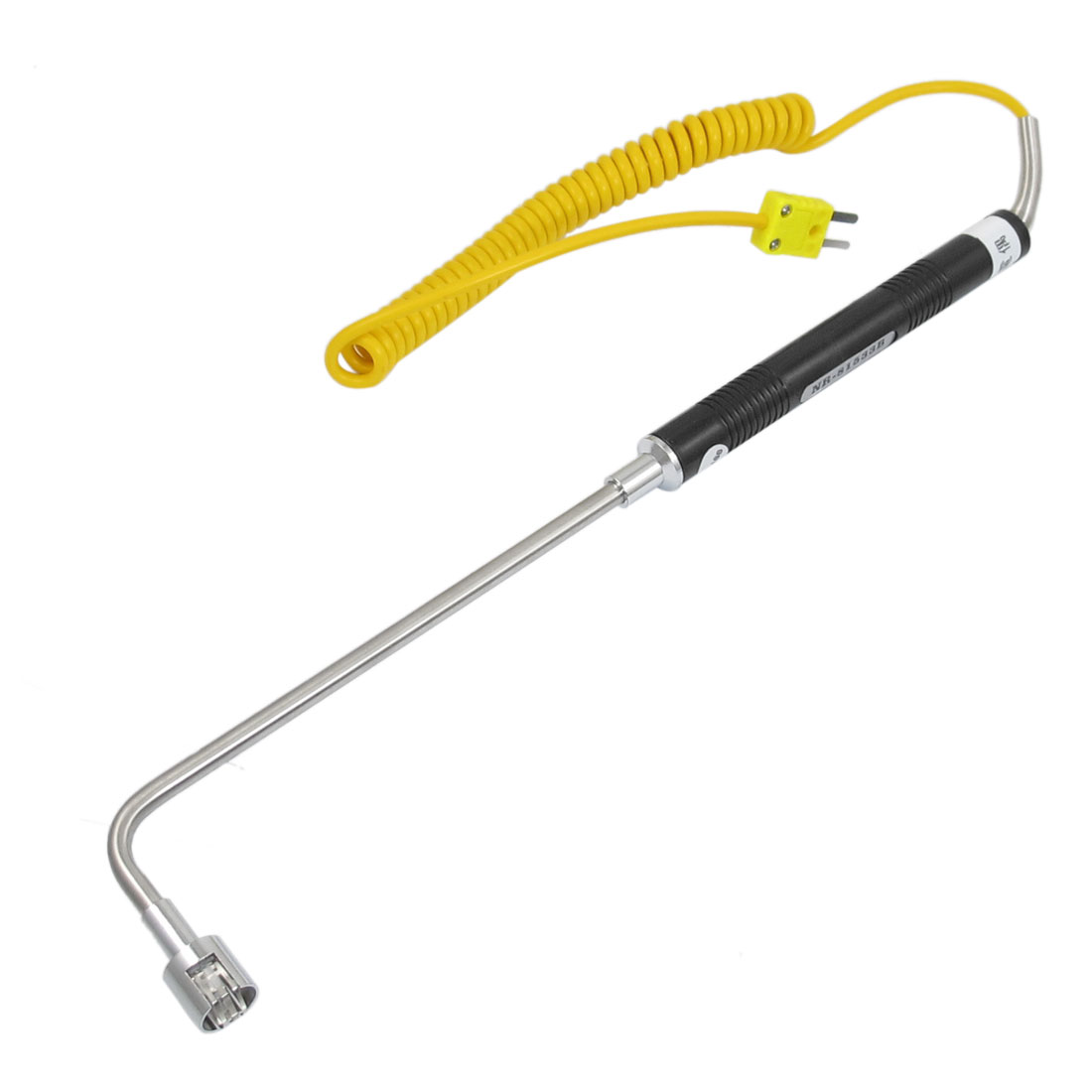 K Type Yellow Cable Curved Head Temperature Sensor Thermocouple Probe -50-500C