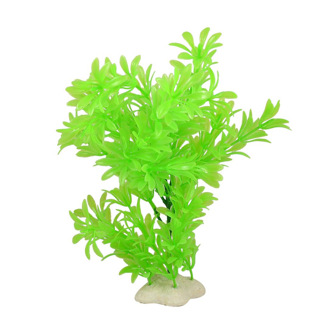 "Fish Tank Decoration 10"" Height Light Green Leaf Plastic Aquatic Plant"