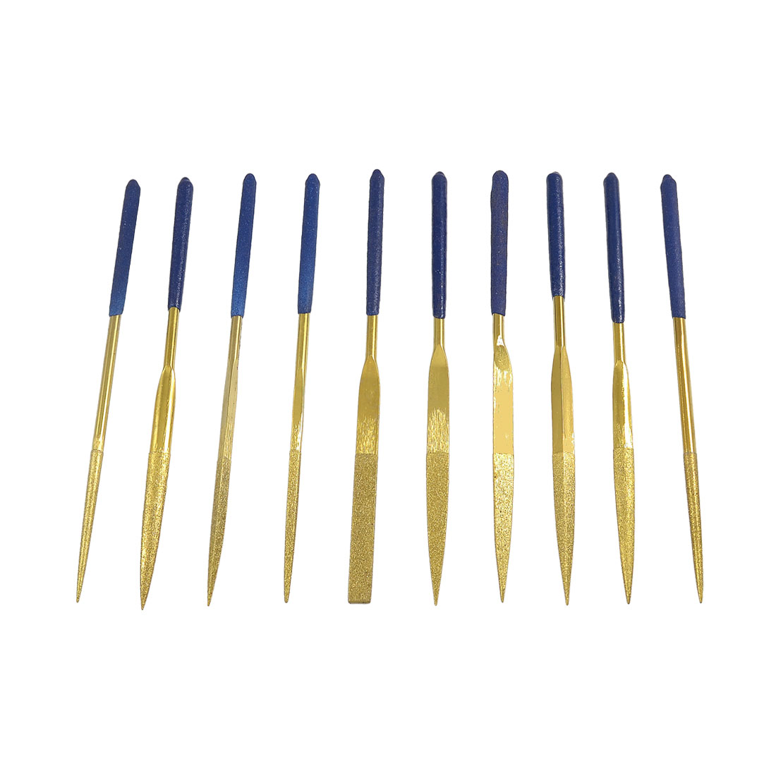 4mm x 160mm Blue Handle Diamond Coated Round Taper Needle File 10pcs