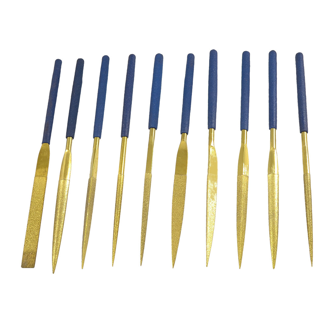 10 x 5mm Shank 180mm Long Blue Nonslip Grip Triangle Diamond File Set