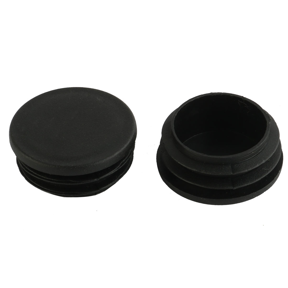 Round Plastic Table Blanking End Caps Tubing Tube Inserts Black 38mm Dia 2pcs