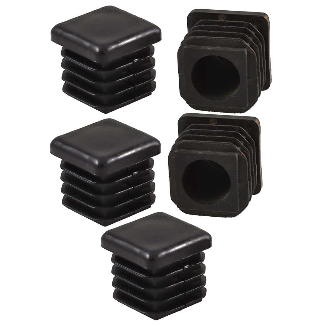 19mm x 19mm Plastic Square Tube Inserts End Blanking Caps Black 5 Pcs