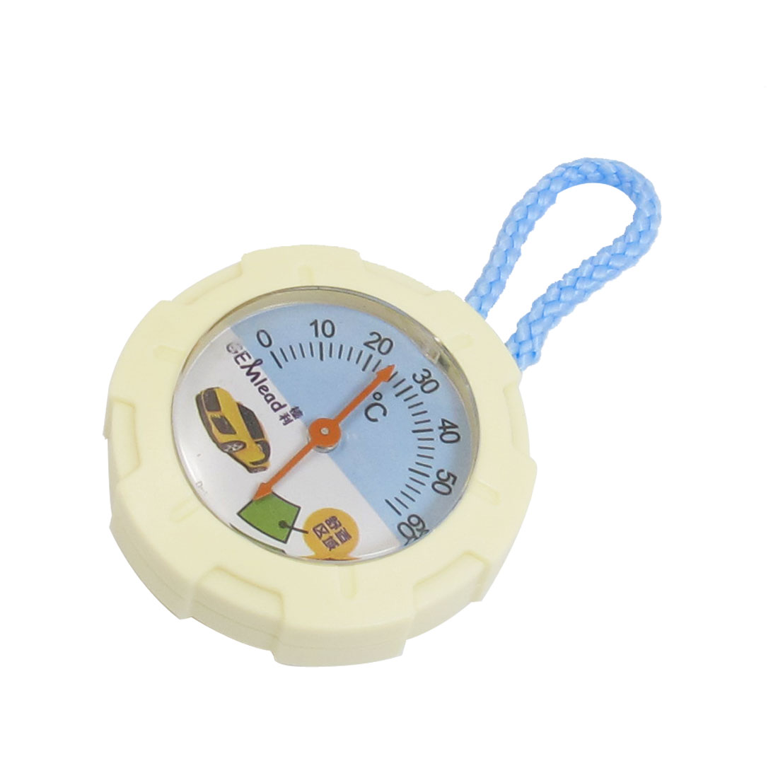 Beige Round Dial 0-60C Temperature Measure Thermometer Tool w Blue Strap