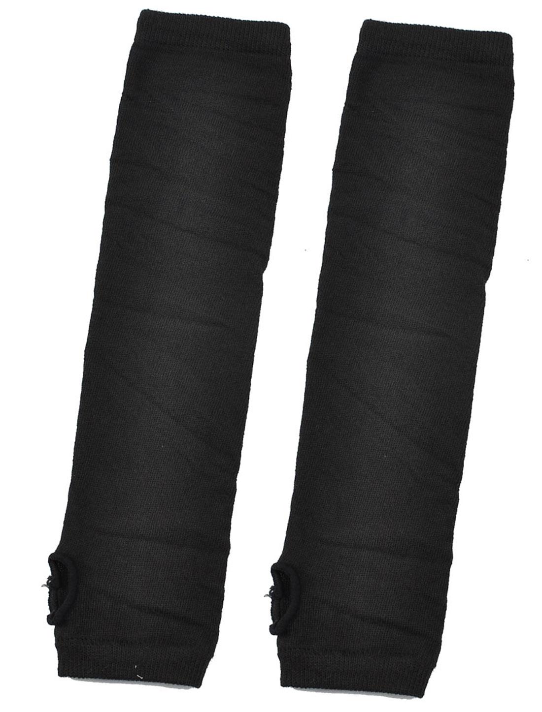 Ladies Black Acrylic Fingerless Thumbhole Arm Warmer Elbow Gloves Pair