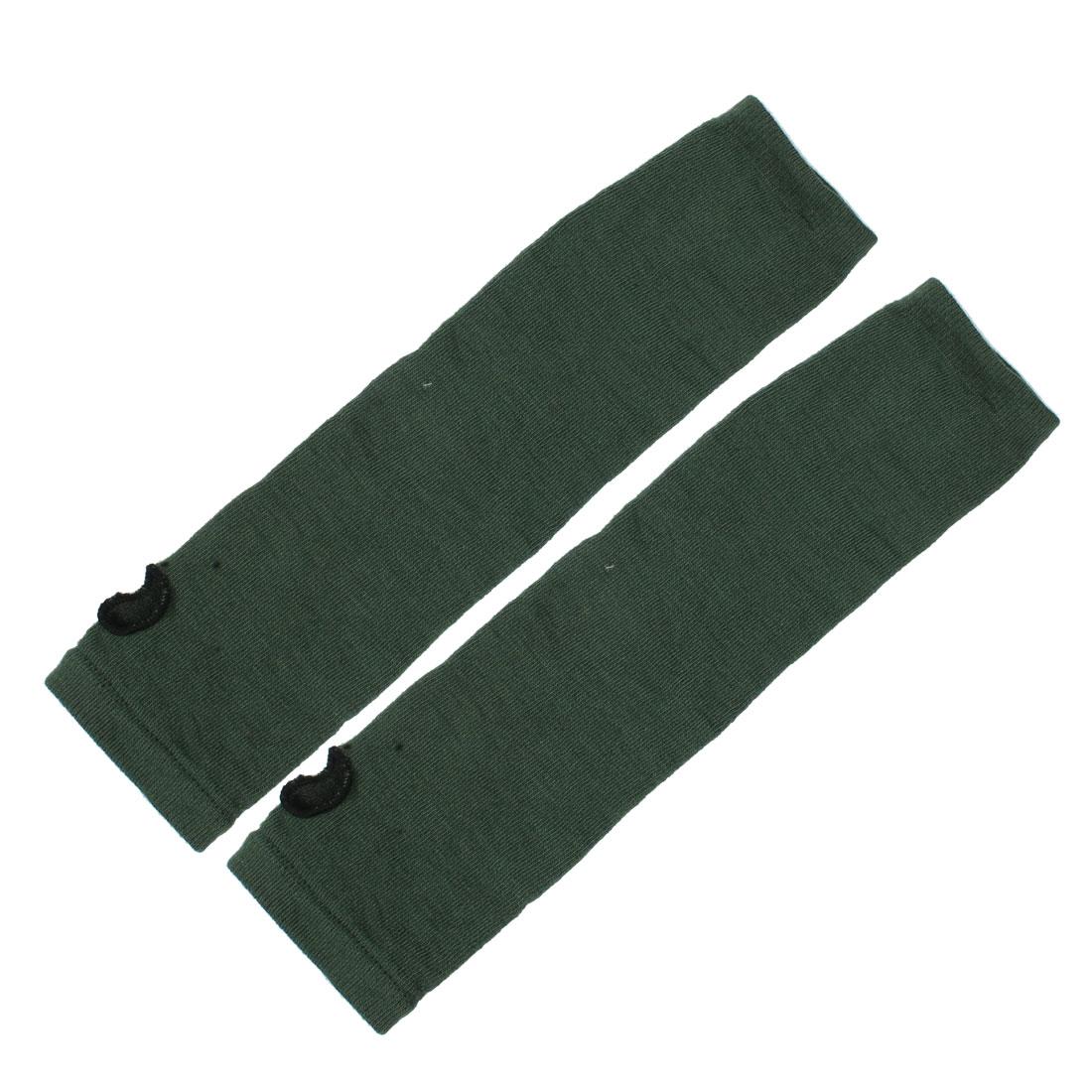 Women Girls Elastic Thumbless Fingerless Arm Warmers Gloves Green