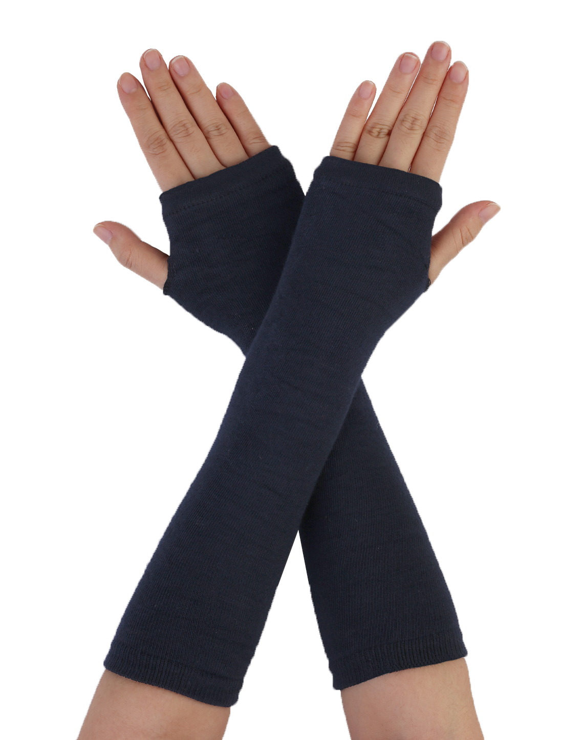 Blue Knitted Fingerless Long Gloves Arm Warmers for Lady Woman