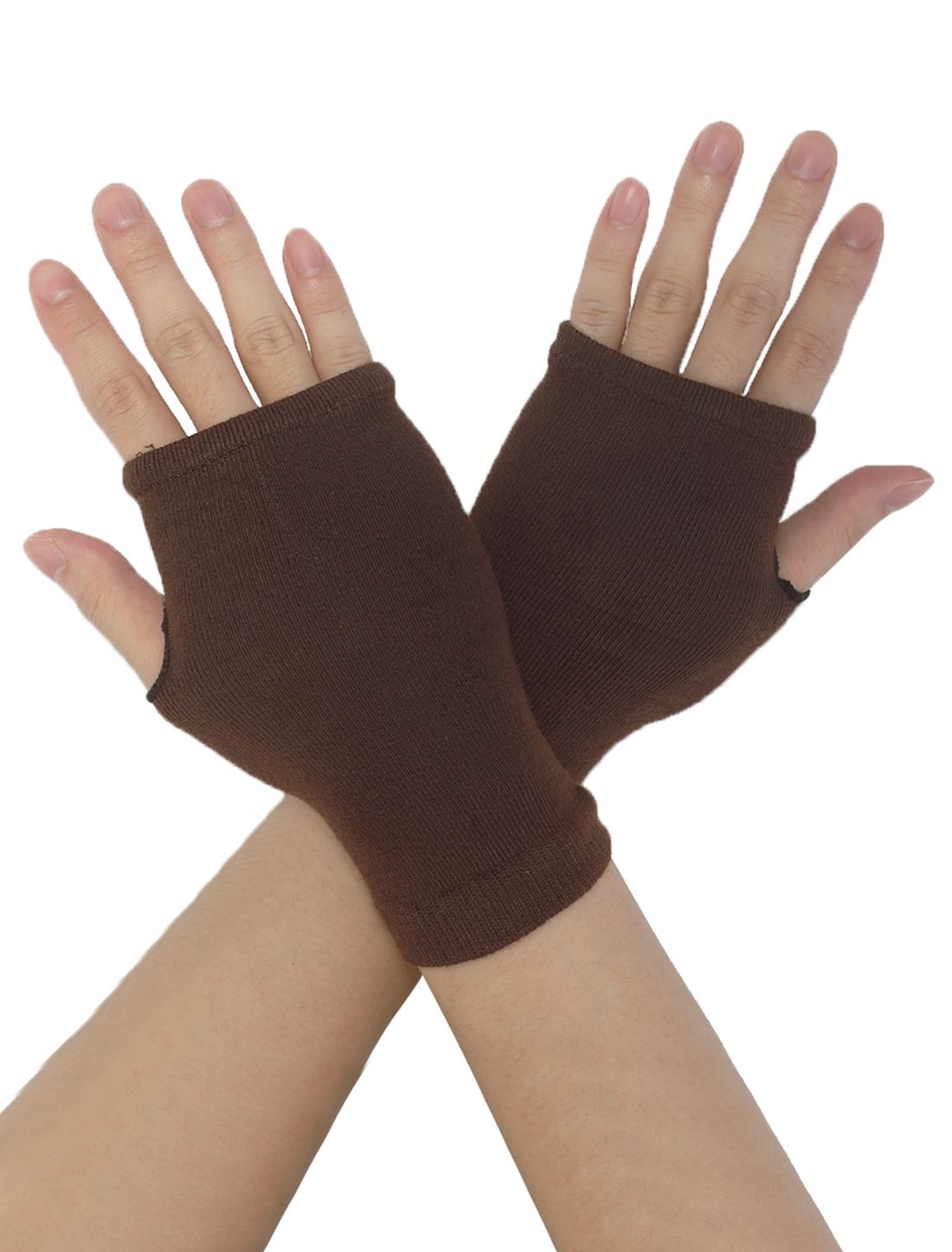 Stretchy Coffee Color Fingerless Mittens Palm Warmers for Lady