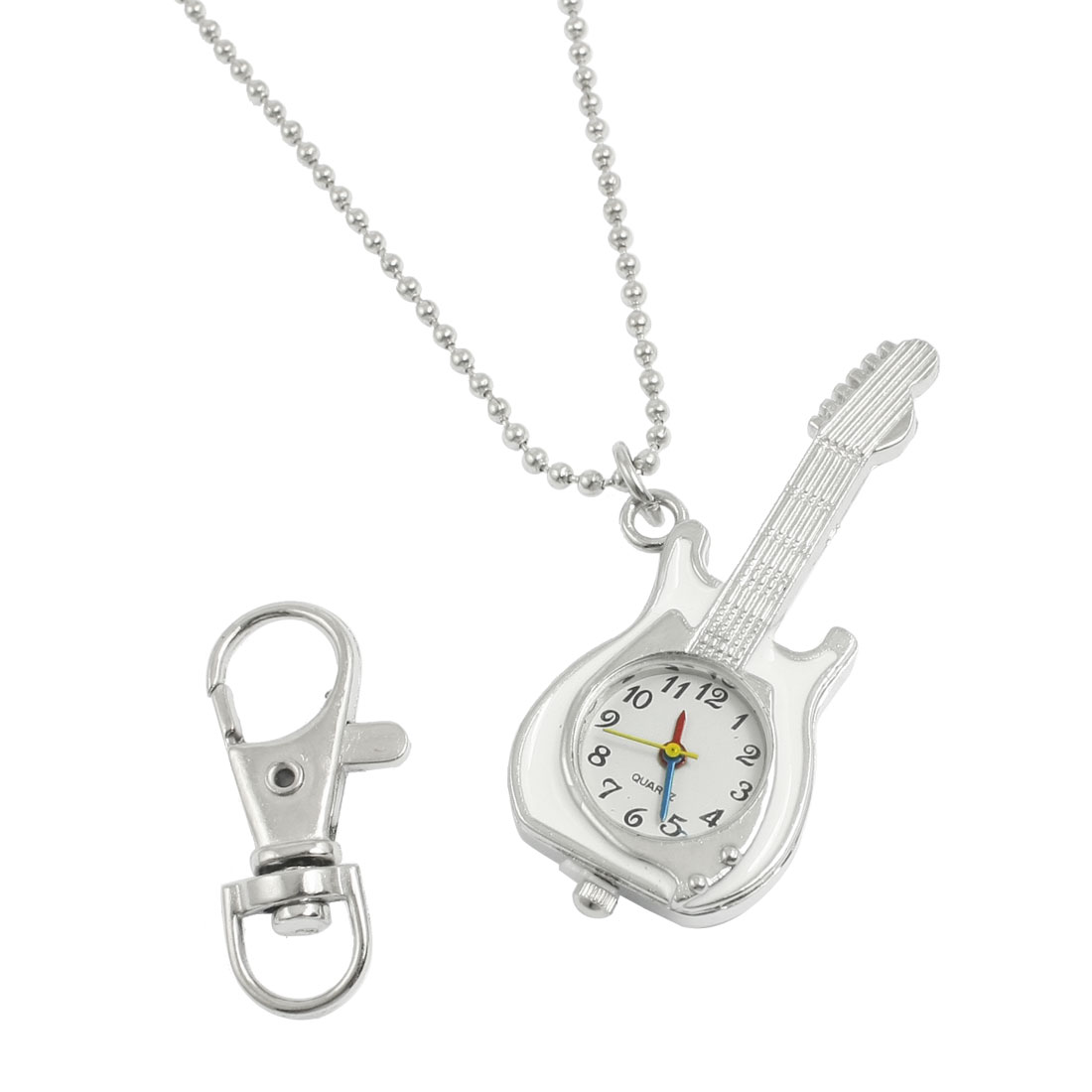 Silver Tone White Guitar Shape Watch Pendant Necklace w Lobster Clasp