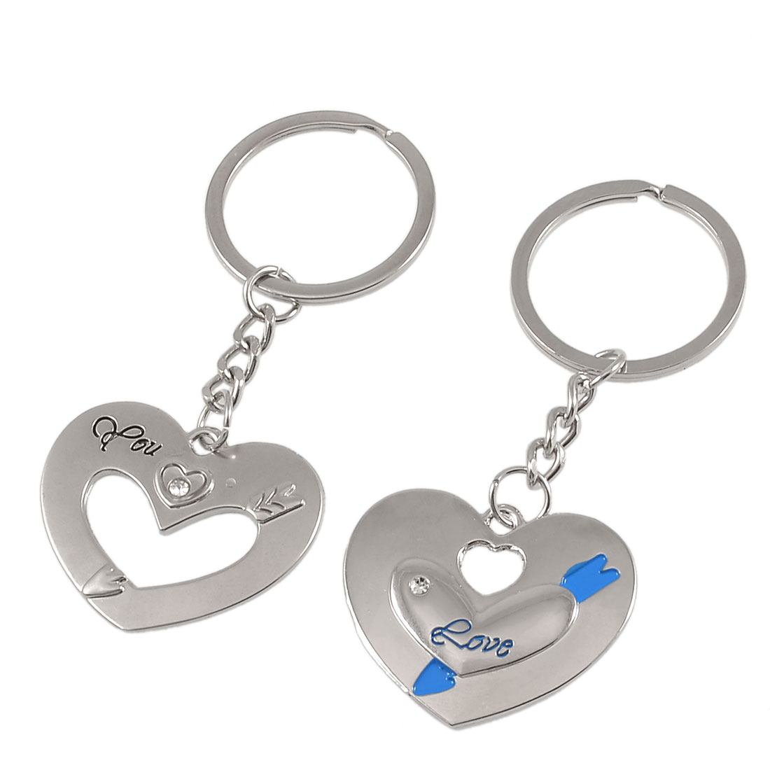 Pair Silver Tone Metal Heart Shapes Dangling Couples Keyring Key Holder