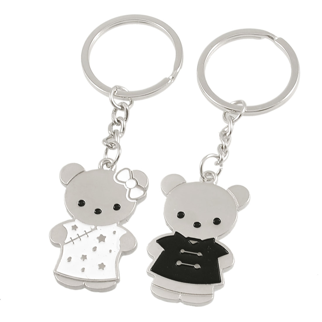 Metal Dressed Bear Shape Dangling Lovers Keychain Key Holder Silver Tone Pair
