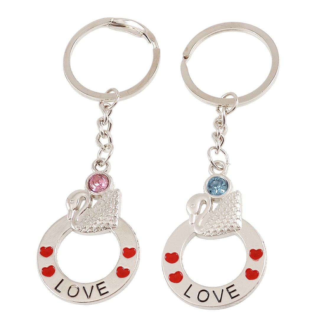 Pair Silver Tone Metal Swan Circle Rhinestone Detail Couples Key Holder