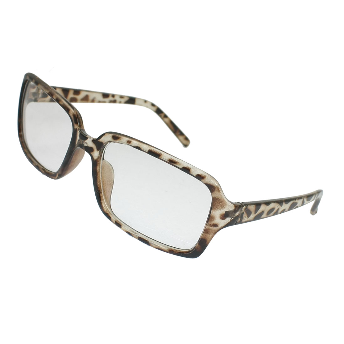 Brown Leopard Printed Plastic Rectangle Clear Lens Spectacles for Women