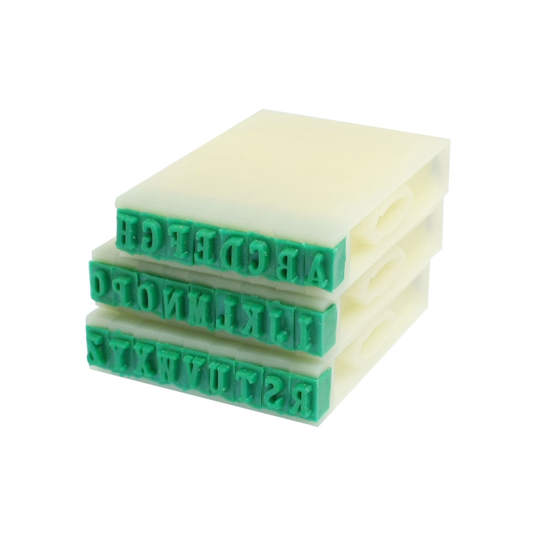 3mm x 5mm Green Rubber Head 26 Alphabets Combination Stamp Block Set
