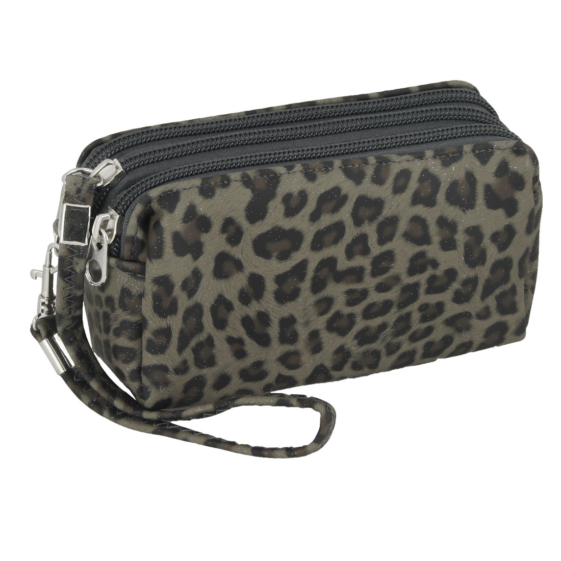 Lady Black Brown Leopard Pattern Dark Gray Faux Leather Purse Wallet