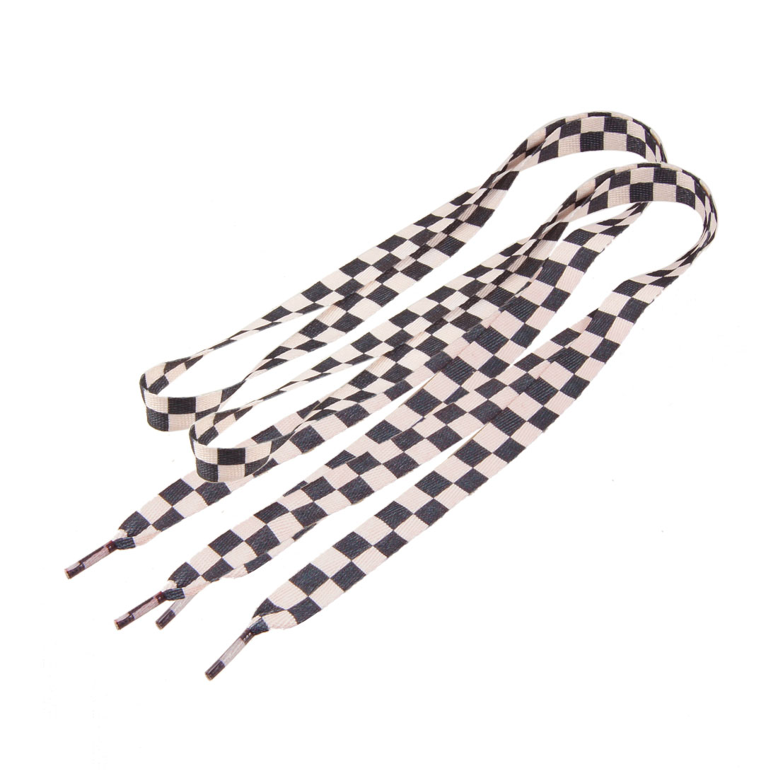 Light Pink Black Checked Flat Sports Shoes Shoelaces Pair