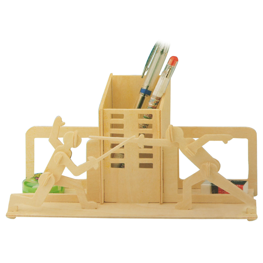 Wooden Puzzled Sword Playing Pen Holder Woodcraft Construction Kit