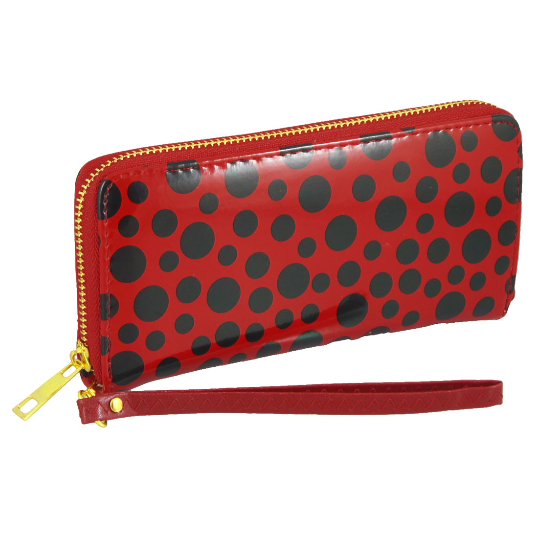 Lady Black Dots Prints Red Faux Leather Zip Up Wallet Purse Bag
