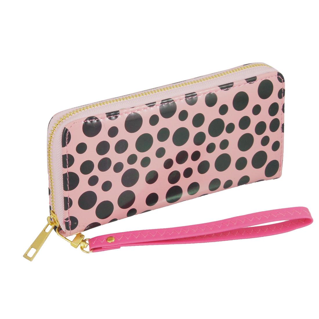 Lady Black Dots Prints Light Pink Faux Leather Hand Strap Wallet