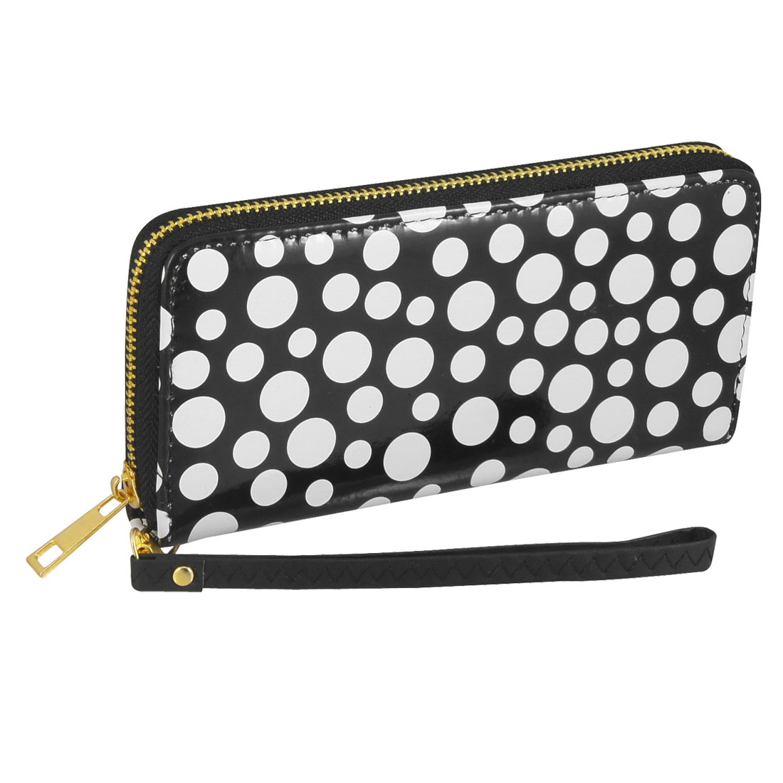 Lady White Dots Prints Black Faux Leather Hand Strap Wallet Purse