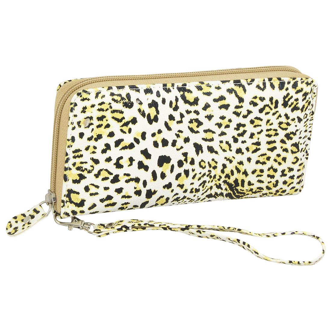 Lady Black Yellow Leopard Pattern Faux Leather White Wallet Purse