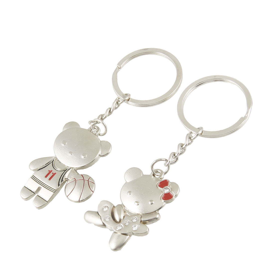 Lovers 2 Pcs Bear Shaped Pendant Silver Tone Metal Keychains