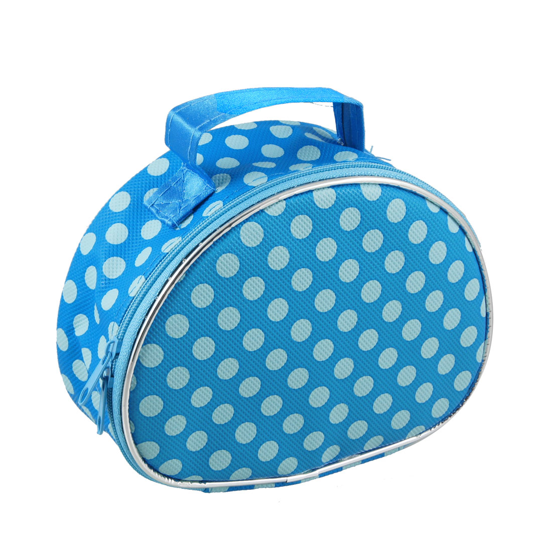 Dots Print Zip Closure Two Tone Blue Cosmetic Holder Container