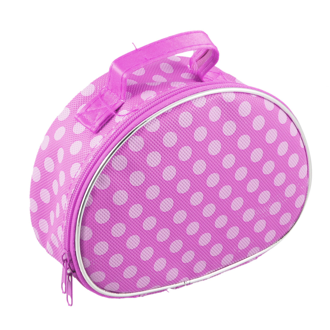 Dots Print Zip Closure Two Tone Pink Cosmetic Holder Bag