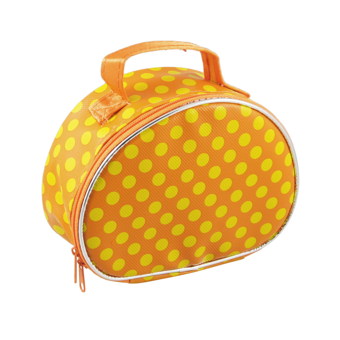 Yellow Dots Print Zip Closure Orange Cosmetic Holder Bag
