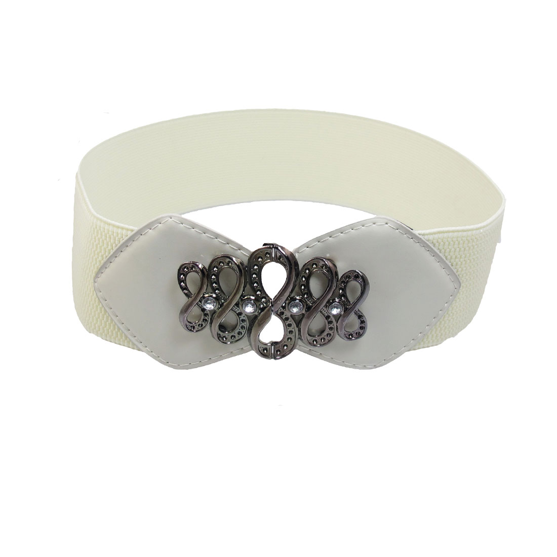 Women Rhinestone Decor Interlocking Buckle Elastic Band Waist Belt Off White