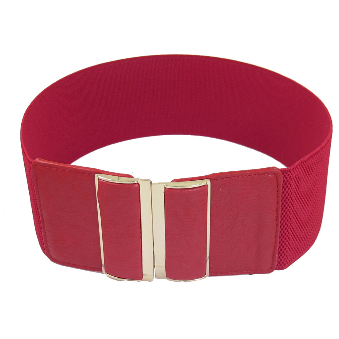 Dark Red Faux Leather Elastic Band Interlocking Buckle Waist Belt 3 Inches Width for Women
